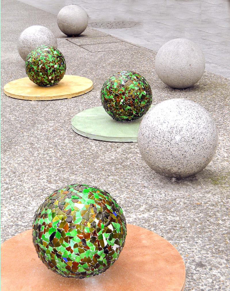 Caterina Aicardi, opere, scultura, natura, art, scultura, glass, vetro, piazza, atomi, in progress, work